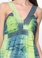 Dewberry Askılı Uzun Kloş Elbise Yeşil